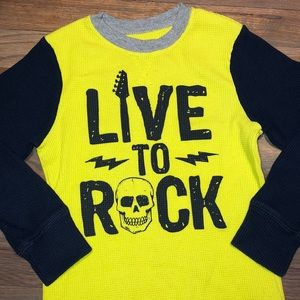 5/$25🔴 Electric Yellow & Navy Rock Skull Thermal